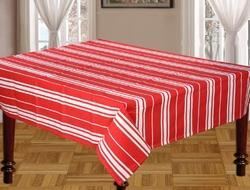 Red Striped Cotton Tablecloth