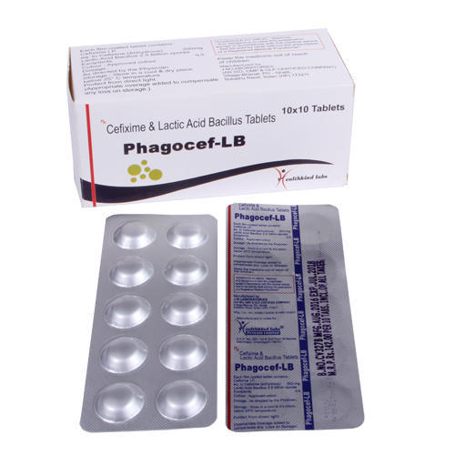 Cefixime Anhydrous 200 mg Lactic Acid & Bacillus Tablets, Packaging Size: 10 x 10