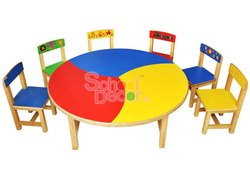 Round Kids Study Table For School Classroom