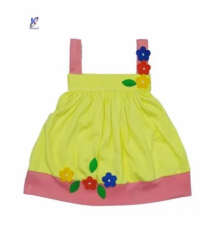 Sleeveless Floral Work Frock For Baby Girls