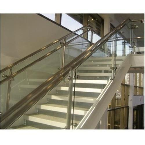 Stainless Steel And Glass SS Glass Staircase Railing, Rs ...