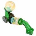 Glass Double Wheel Sherlock Smoking Pipe 8 Inch Green