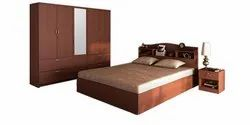 Cherry Wood Brown Modern wooden Bedroom set 01, Size: Queen