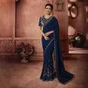 Blue And Gold Embroidery Silk Saree