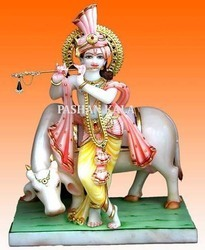 Krishna Statue with Cow