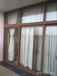 Sliding Modern Brown UPVC Window, Glass Thickness: 5-12mm