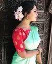 Fancy Satin Saree With Banarasi Silk Blouse