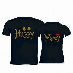 Black Cotton Half Sleeve Couple T Shirt, Size: XL
