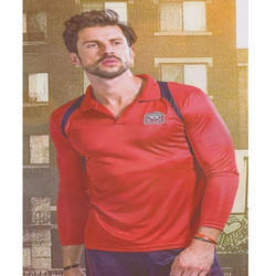 Red Sports Wear Mens Full Sleeves T-Shirt
