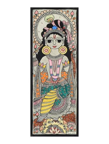 Lord Krishna Patti Madhubani Painting Services - Manjari Madhubani