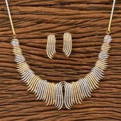 White Copper Alloy  CZ   Classic Necklace Set With 2 Tone Plating 400423