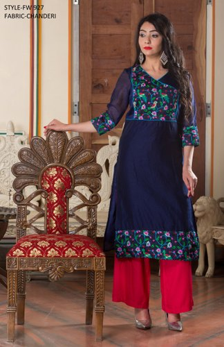 Blue and Red Chanderi Kurti