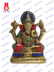Lord Ganesh Sitting Shah Coil Trunk W/Stone Work Statue