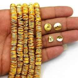 Brushed Gold Plated Wavy Disc Bead Spacers
