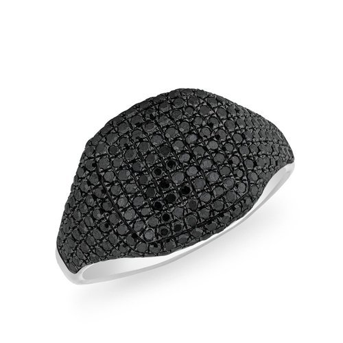 25815bb1bcd879 Gemone Diamonds Black Diamond Cushion Pinky White Gold Ring, Rs ...