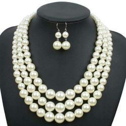 Ladies Pearl Necklace Set