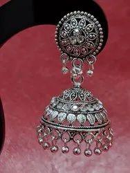 Black Oxidized Women Silver Jhumka