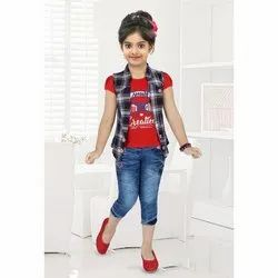 Cotton And Denim Casual Wear Girls Casual Top and Capri Set, Age: 1-12 Year