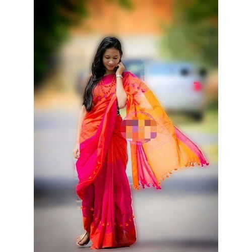 dd6660dbe2a24d Khadi Cotton Ladies Pompom Orange Saree