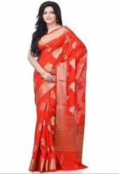 Red Silk Blend Zari Work Banarasi Saree