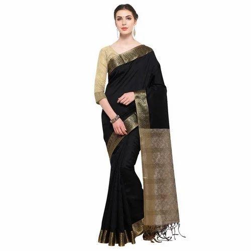8035ff74a Ligalz Black Cotton Indian Saree