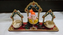 Wooden Ganapati And Candle Holder