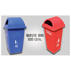 Plastic Red And Blue Waste Bin 100 Litre