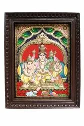 Shiva Parvathy Embossed 3d Tanjore God Painting