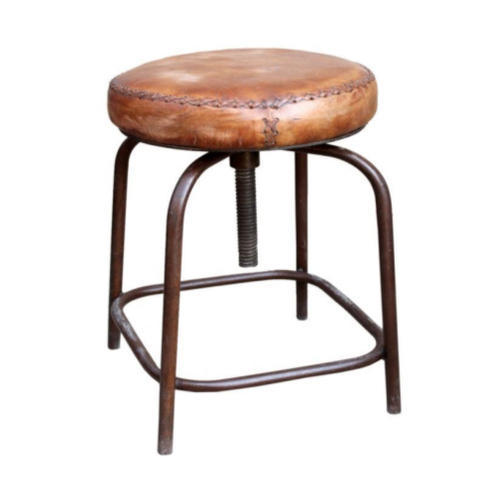 Leather Seat Iron Adjule Stool