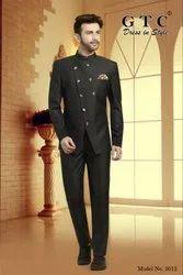 Black Plain Printed Jodhpuri Suit