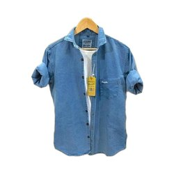 Regular Fit Collar Neck Mens Blue Solid Denim Shirt