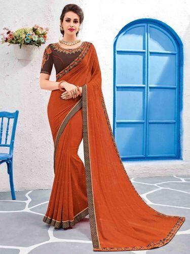 a0126076d Orange Color Designer Embroidered Georgette Saree