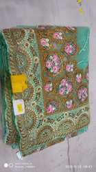 Net Embroidered Designer Saree with Blouse Piece, Length: 6.3 m