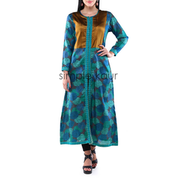 M Printed Woman Blue And Brown Front Slit Kurta