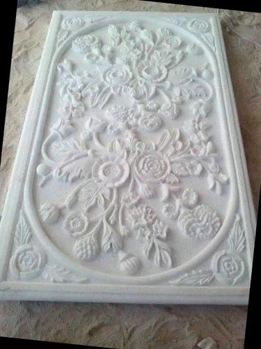 Outdoor White Marble Carving Panel