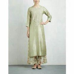 Silk Embroidered Ladies Kurti With Palazzo Set