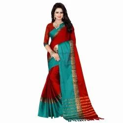 Maroon & Green Colored Poly Silk Casual Saree
