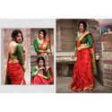 Ladies Printed Wedding Saree With Blouse Piece
