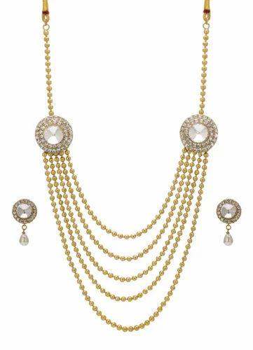 3b08a4629 Golden Bindhani Ethnic Long Rani Haar White Necklace Set, Rs 350 ...