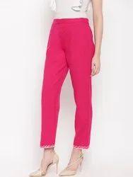 Pant for Kurti HCP24 Pink Regular Pant with Gota Lace