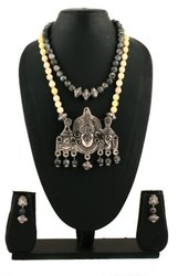 Two Layers Semi Precious Gemstones Temple Pendant