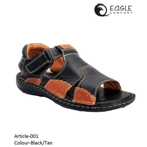 d7c25fc96fe Black And Tan Casual Men  s Leather Sandal