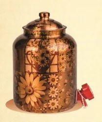 Round Printed Copper Matka, Size: 8ltr