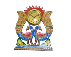 Wooden Clock Peacock shape