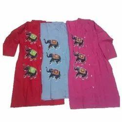 Cotton Casual Wear Hand Painted Kurti, Wash Care: Handwash