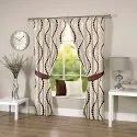 Ravi Exports Printed Abstract Wavy Brown Curtain