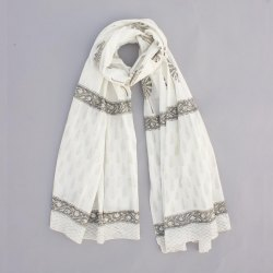 Women Summer Cotton Block Floral White Base Dupatta Jaipuri Print Stole