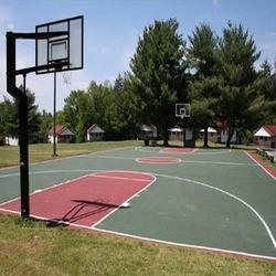 Red and Green Synthetic Basketball Outdoor Construction Service