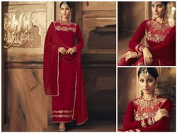Dark Red Butterfly Semi-Stitched Salwar Suit