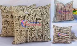 Multicolor Hand Block Print Cotton Hand Loom Cushion Cover, Size: 20x20 Inches